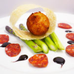 Asparagus and deep fried duck egg by our private chef in cheshire